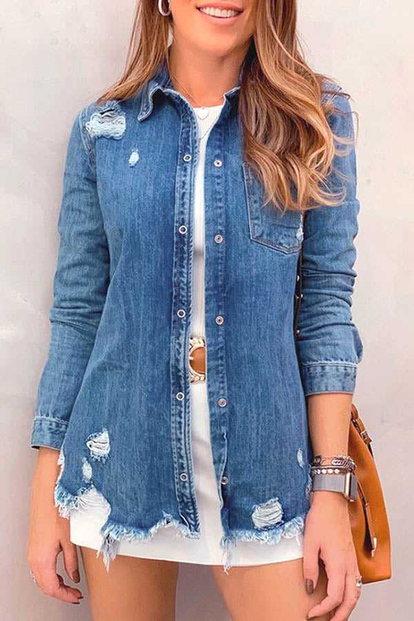 Holes Denim Coat