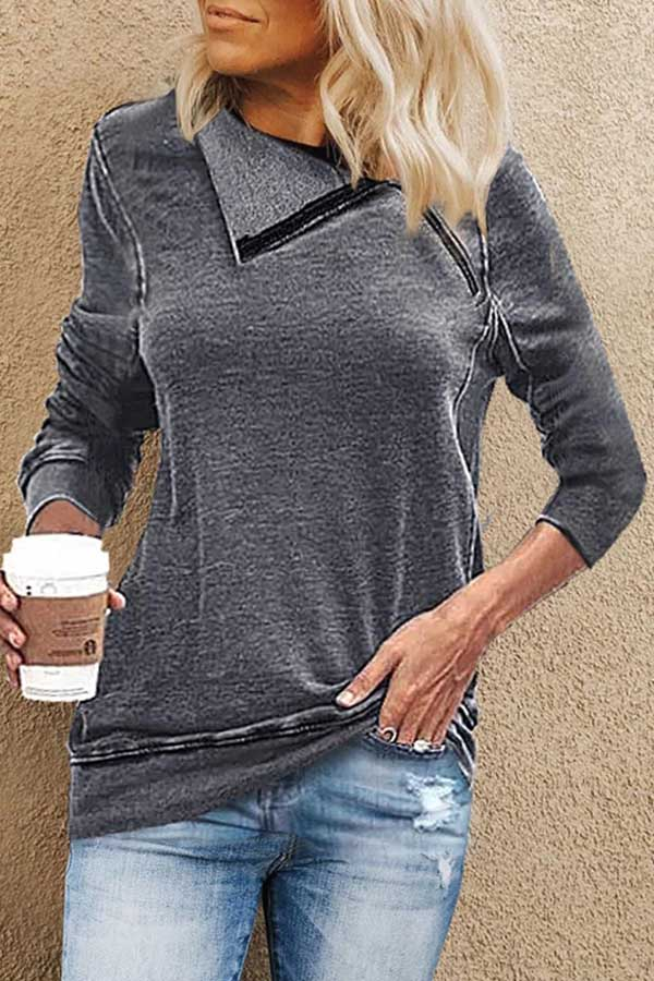 Loose Knit Diagonal Collar Zipper T-Shirt