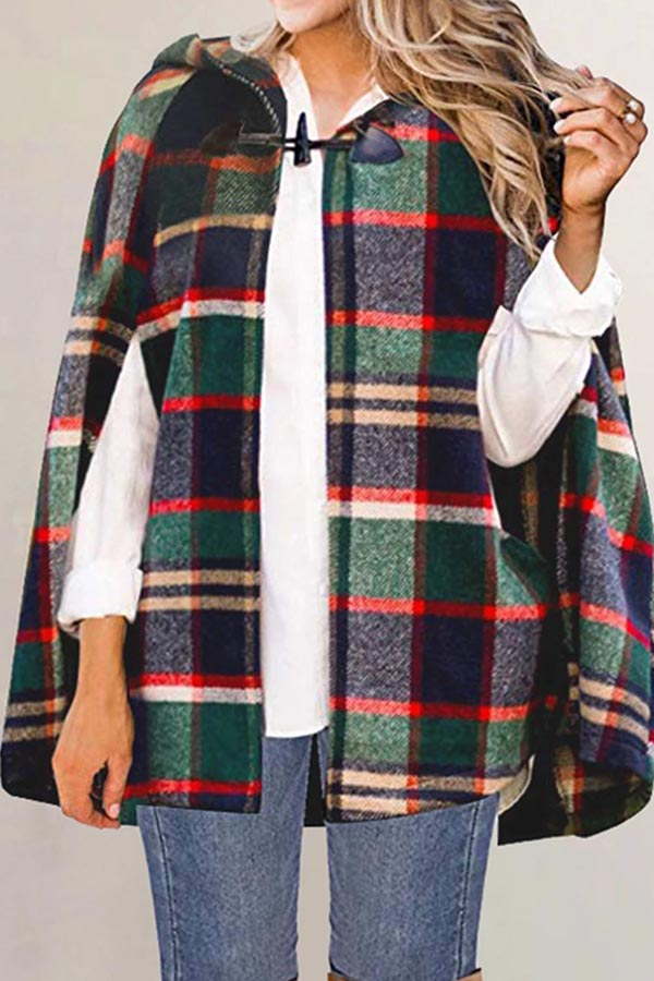 Plaid Tweed Coat Cape