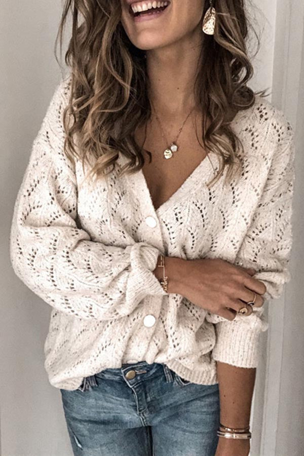 Hollow V-Neck Long Sleeve Knitted Cardigan