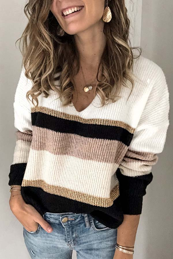 V-Neck Long Sleeve Stripe Sweater