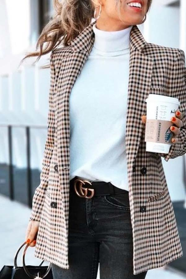 Plaid Slim Suit Coat