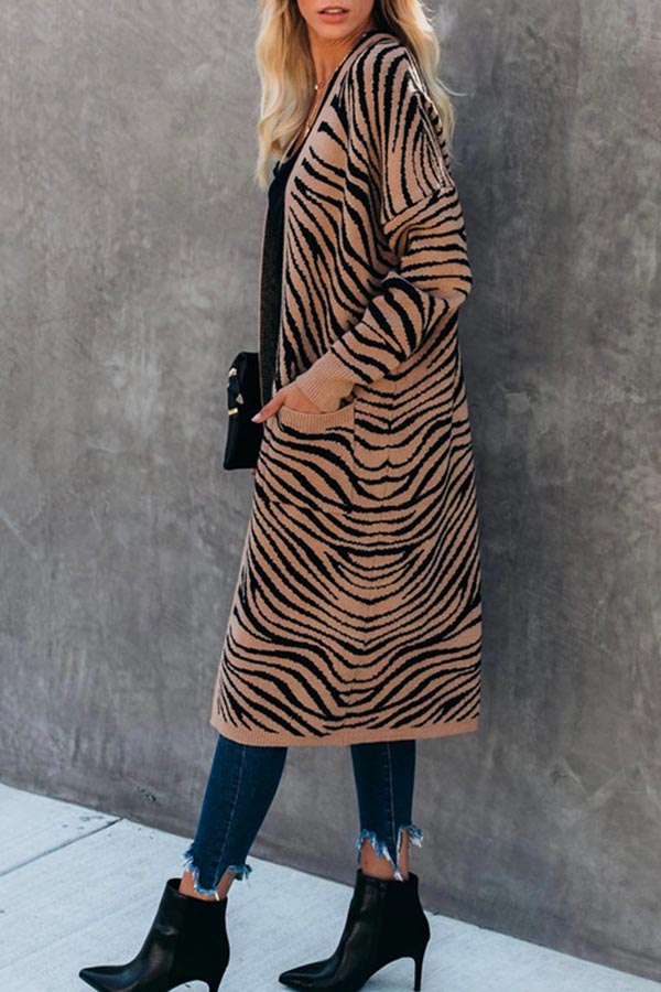 Wave Pattern Long Thickened Cardigan