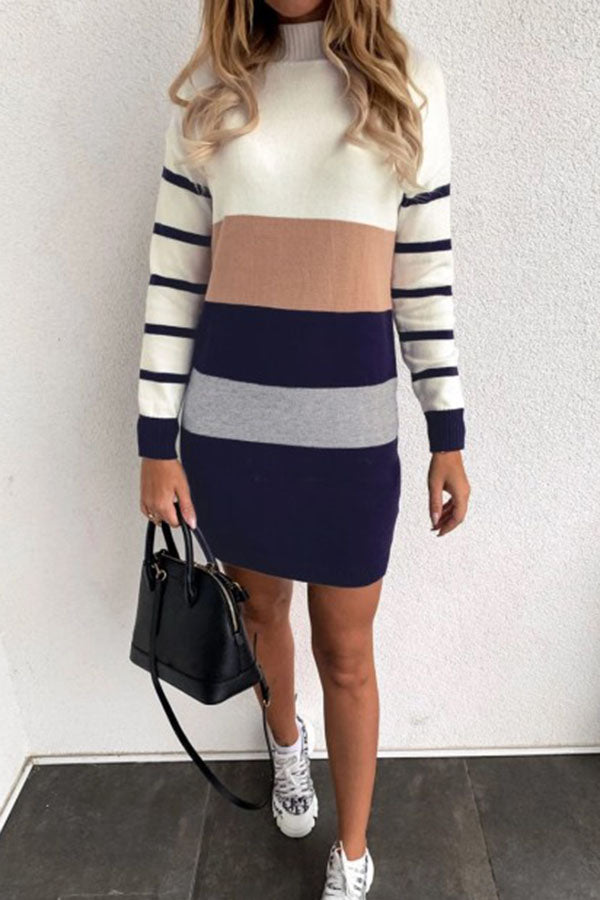 Collision Color Stripe High Neck Dress