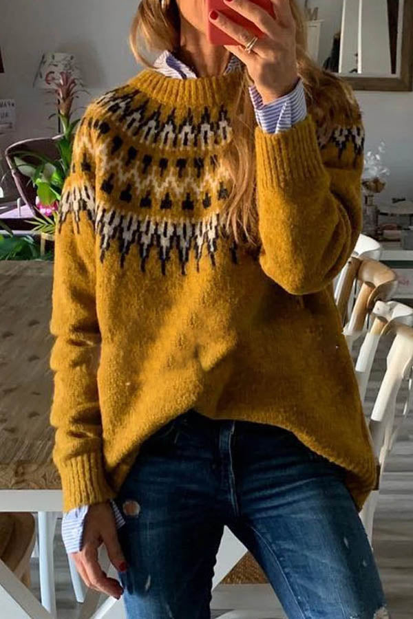 Round NeckLoose Pullover Knit Sweater