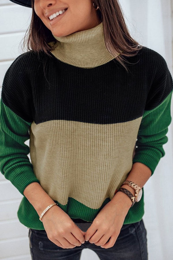 Collision Color High Neck Long Sleeve Top