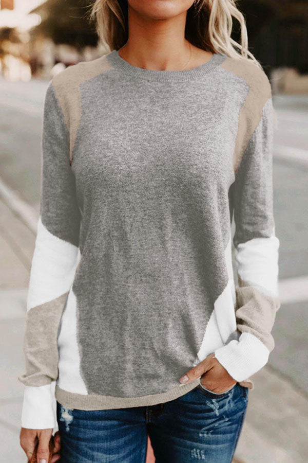 Round Neck Splicing Knit Sweater
