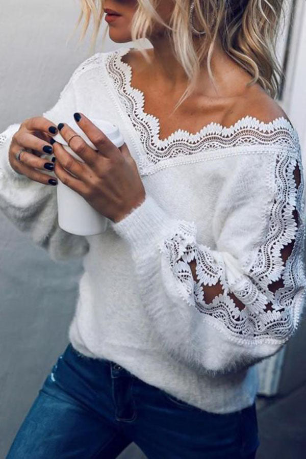 V-Collar Lace Top