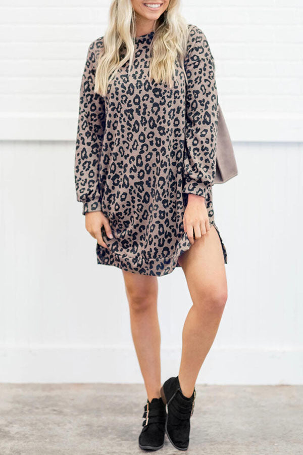 Round Neck Leopard Print Pocket Dress