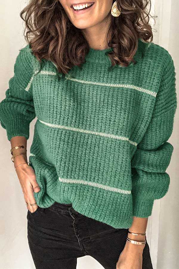 Round Neck Stripe Loose Knit Sweater