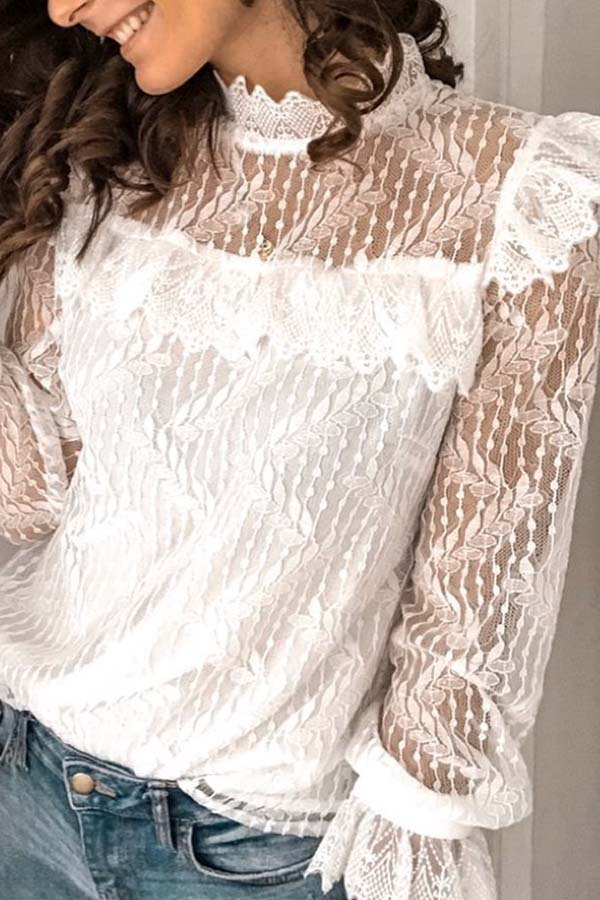 Lace Solid Color Shirt
