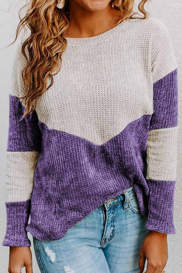Round Neck Collision Color Loose Sweater