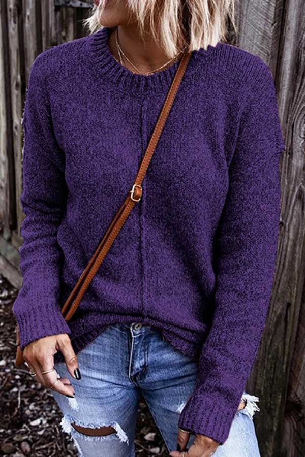Loose Round Collar Pullover Sweater