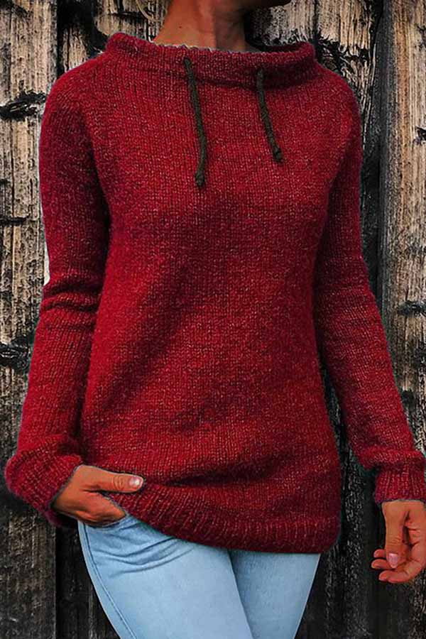 Mandarin Collar Knit Sweater