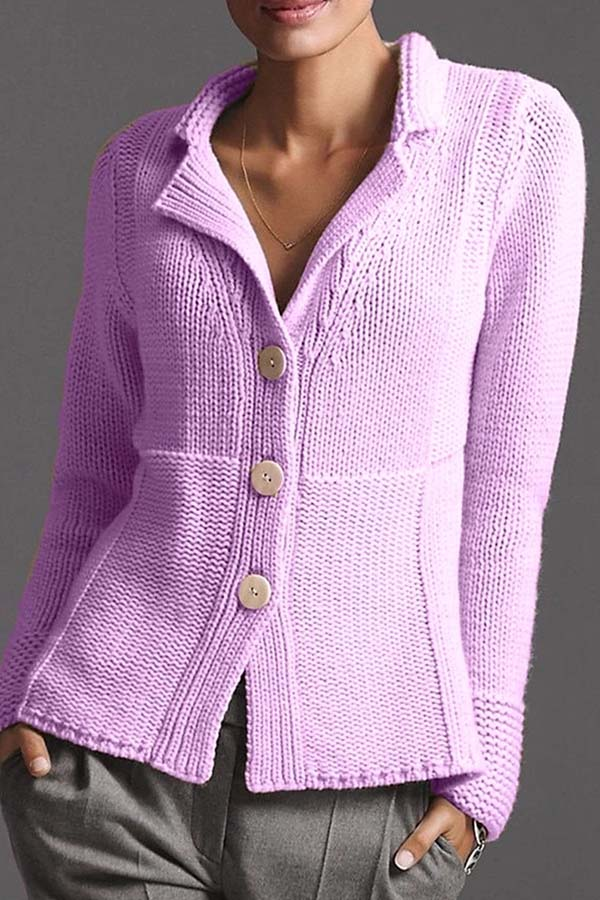 Solid Color Button Cardigan
