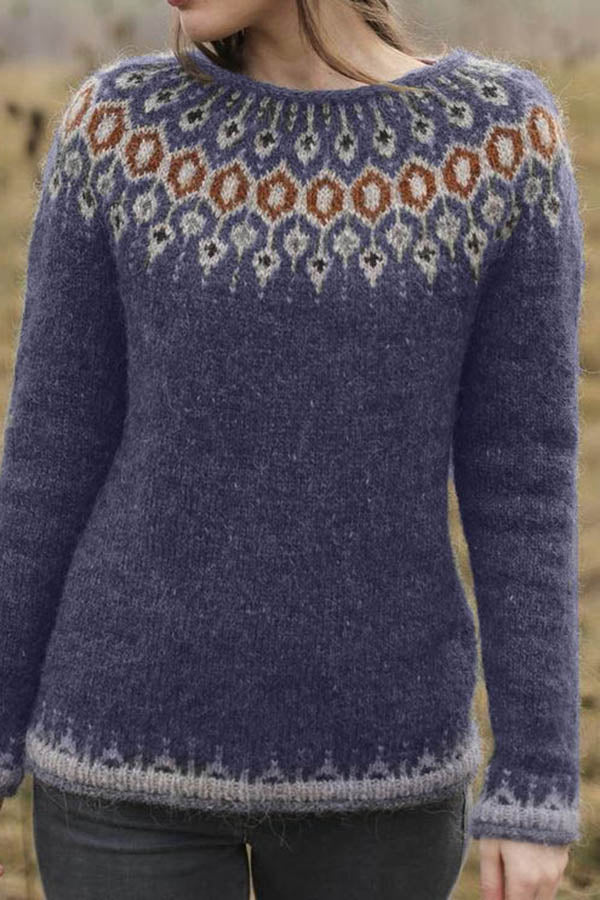 National Style Pullover Knitted Sweater