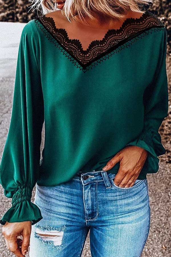 Lace V-Neck Long Sleeve Top