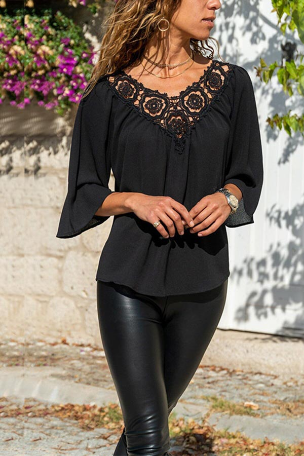 V-Neck Lace Splicing Top