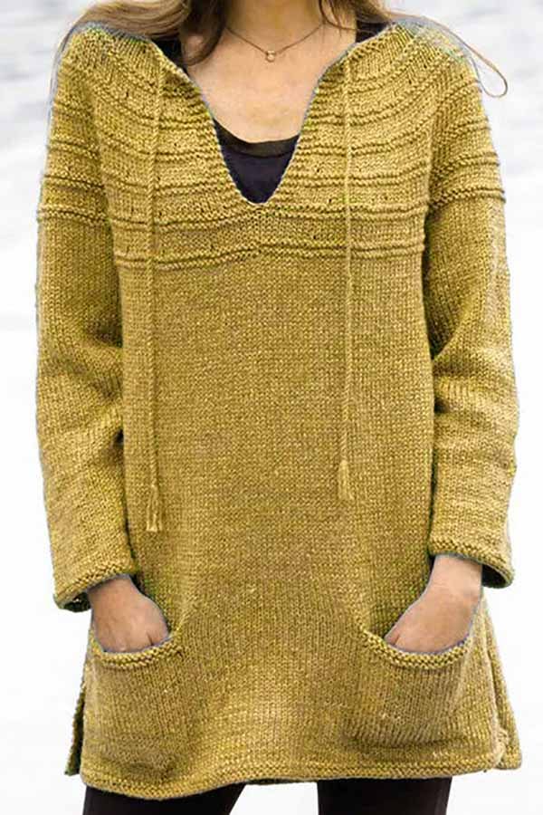 Solid Color Knitted Loose Sweater