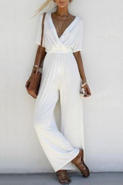 Chic V Neck Jumpsuit