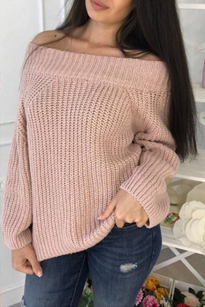 long-sleeve-off-shoulder-casual-plain-knitted-sweater-jersey