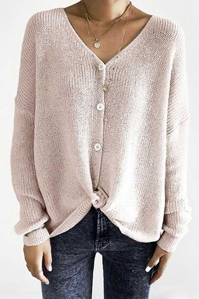 long-sleeve-v-neck-basic-button-through-plain-knitted-cardigan