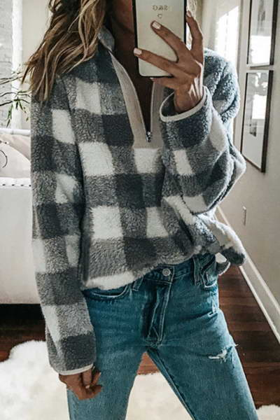 v-neck-cozy-checked-plaid-zipper-closure-fleece-pullover-sweatshirt