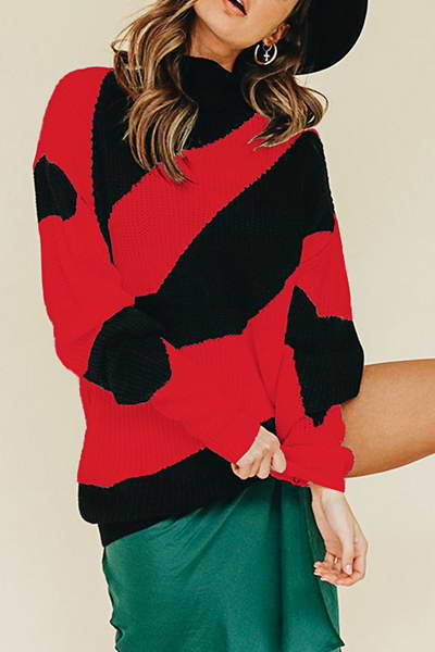 round-neck-modern-bold-striped-color-block-knitted-pullover-sweater