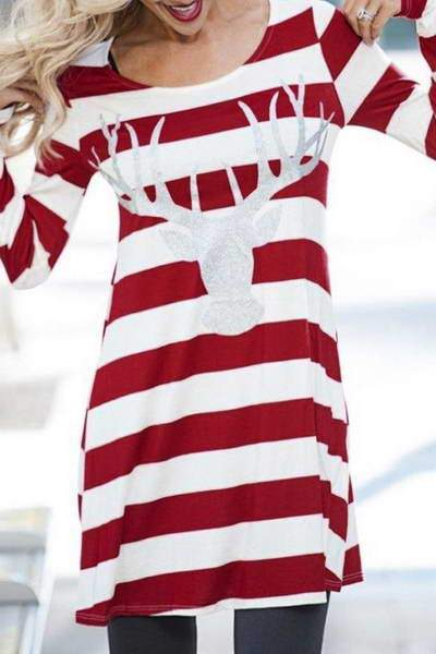 red-white-stripe-reindeer-design-long-sleeve-round-neck-tunic-top