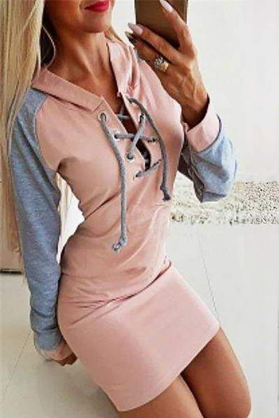 Lace Up Neck Dress