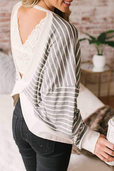 Striped V Back Top