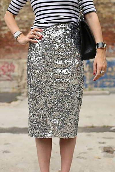 Sparkly Sequin Pencil Skirt