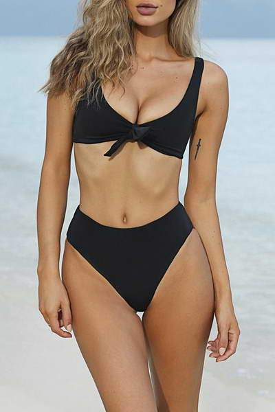high-leg-briefs-scoop-neck-tie-front-top-sporty-plain-two-pc-bikini