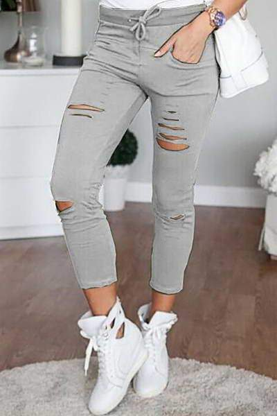Slim Ripped Cargo Pants