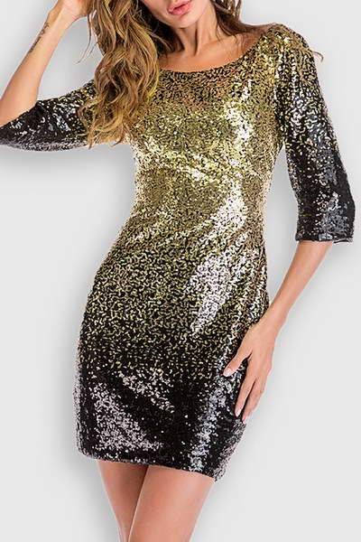 gold--black-34-length-sleeve-boat-neck-short-sparkly-sequin-dress