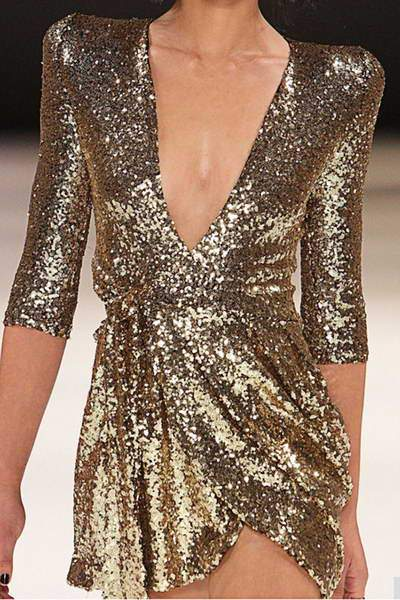 Deep V Sequined Dress