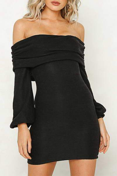 puff-sleeve-off-shoulder-short-luxe-plain-fold-over-top-mini-dress