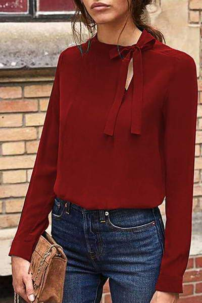 long-sleeve-off-center-high-neck-pussy-bow-chic-solid-color-blouse