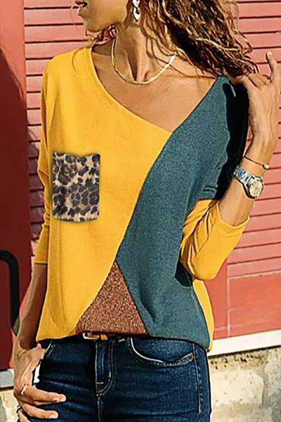 contrast-sleeve-boat-neck-leopard-print-unique-color-block-top