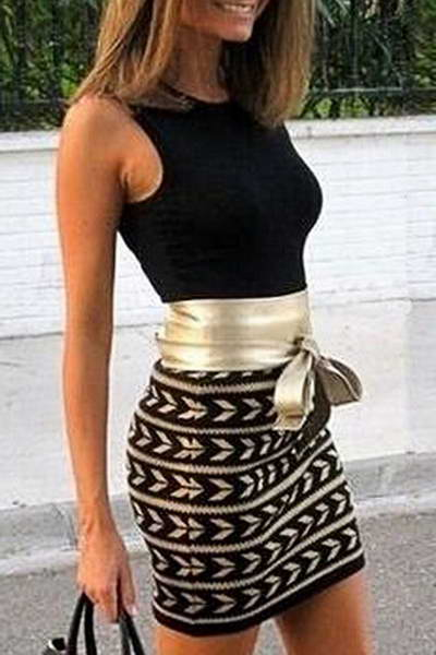 Gold Belted Mini Dress