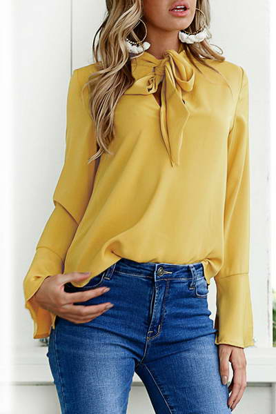 bell-trumpet-sleeve-pussy-bow-neckline-feminine-plain-blouse-top