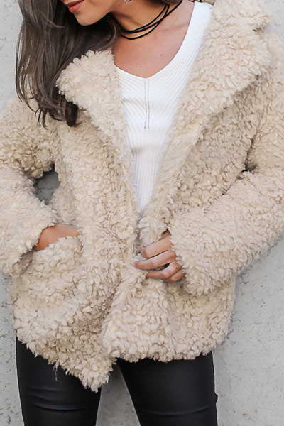 long-sleeve-collared-lapel-short-cute-solid-color-fleece-jacket