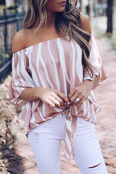 flounce-sleeve-off-shoulder-feminine-striped-knotted-bardot-blouse