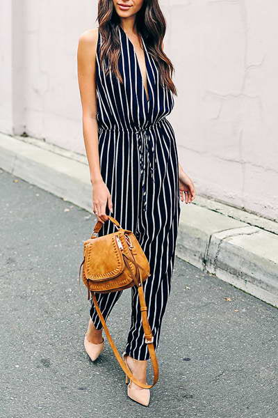navy--white-sleeveless-deep-v-neck-long-drawstring-stripe-jumpsuit