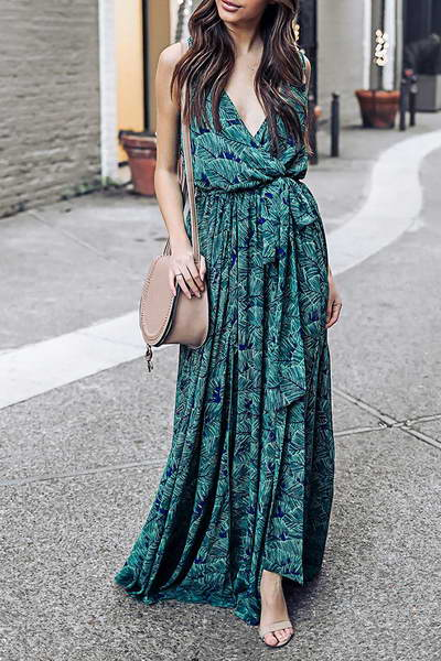 sleeveless-v-neck-long-tropical-green--blue-leaf-print-maxi-dress