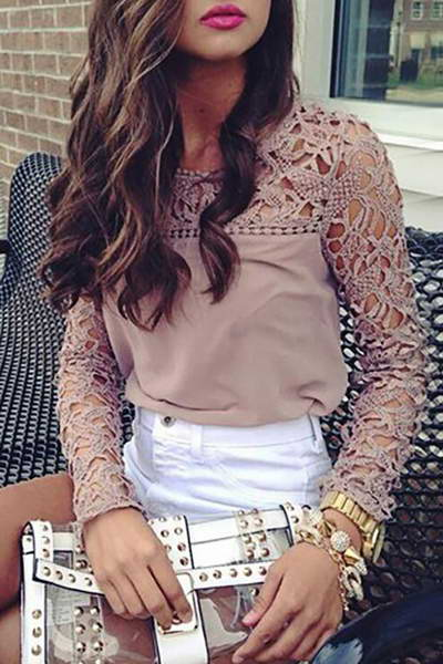 contrast-sleeve-round-neck-regular-romantic-floral-embroidery-blouse