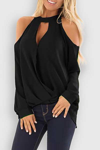 long-sleeve-choker-collar-cut-out-on-trend-plain-cold-shoulder-blouse
