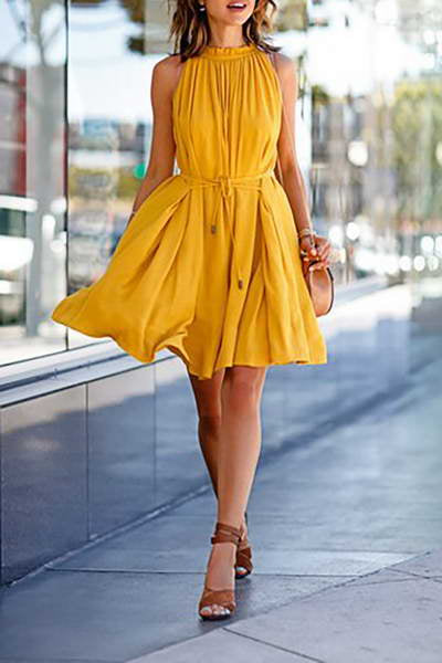 sleeveless-high-neck-knee-length-bright-yellow-flared-sun-dress