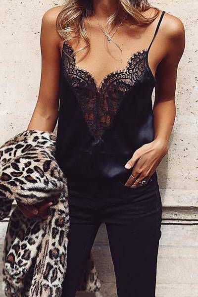 sleeveless-spaghetti-strap-hot-black-lace-trim-deep-v-camisole