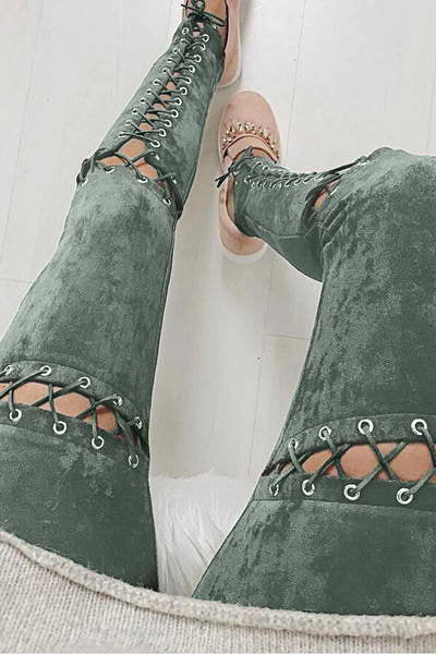 Faux Suede Laced Pants